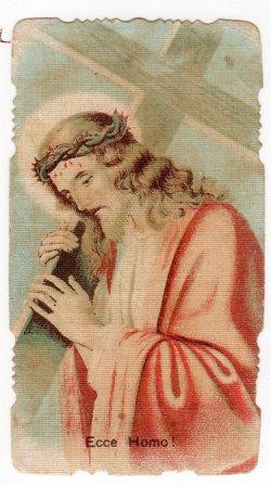 画像1: 【十字架を担ぐイエスキリスト】【1891年】イタリア・アンティーク&ヴィンテージホーリーカード