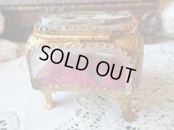 画像4: 【ルルドの聖母ご絵蓋】【5面ベベルガラスオルモル装飾枠クッション敷ボックス】フランス・アンティーク&ヴィンテージボックス