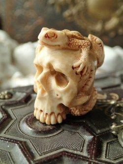 画像1: 【メメントモリ】【髑髏と蛇と蛙】【角あるいは骨に彫刻】ドイツ・アンティーク&ヴィンテージ聖品