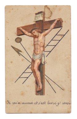 画像1: 【十字架のイエスと梯子と聖槍】【台紙にエンボス厚紙貼り】フランス・アンティーク&ヴィンテージホーリーカード